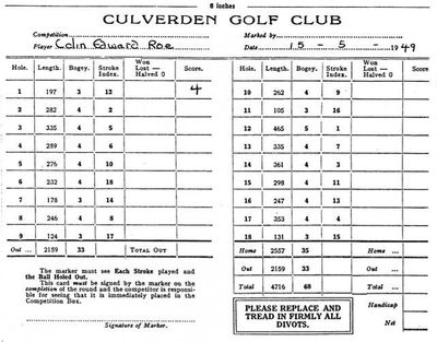 Culverden Golf Club, Tunbridge Wells. Scorecard dated 1949.