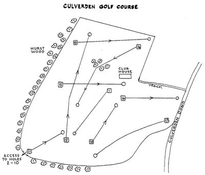 Culverden Golf Club, Tunbridge Wells. Coure layout holes 11 to 18.