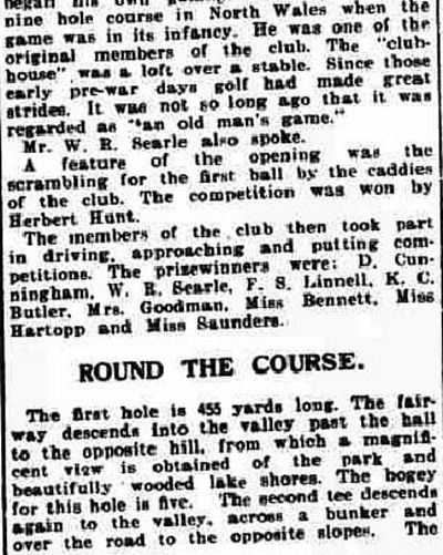 Derbyshire Golf Club, Allestree Park Course. Report on the opening and description of the course in June 1930.