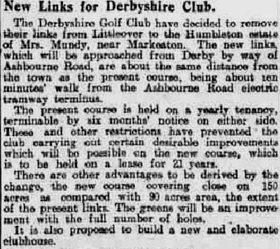 Derbyshire Golf Club, Markeaton Course. Report on the new course in September 1908.