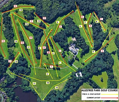 Derbyshire Golf Club, Allestree Park Course. Course plan showing the 1930 H S Colt layout and the current (yellow) and the current layout (red).