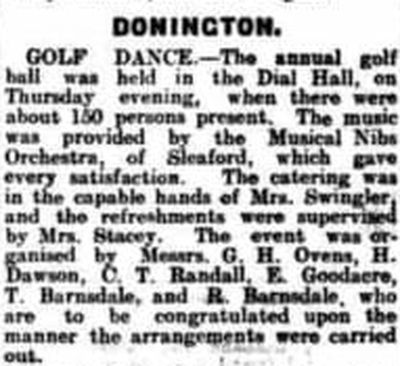 Donington Golf Club, Lincolnshire. Golf Club dance held in November 1926.