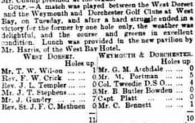 West Dorset Golf Club, Bridport. Report on a match against Weymouth and Dorset May 1894.