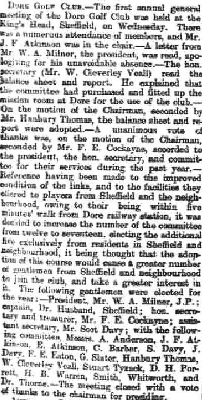 Dore Golf Club, Ryecroft Farm Course, Sheffield. Report on the first annual meeting in November 1896.