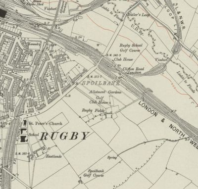 Dunsmore Golf Club, Rugby. Ordnace Survey Map showing both the Dunsmore and Rugby School golf courses.