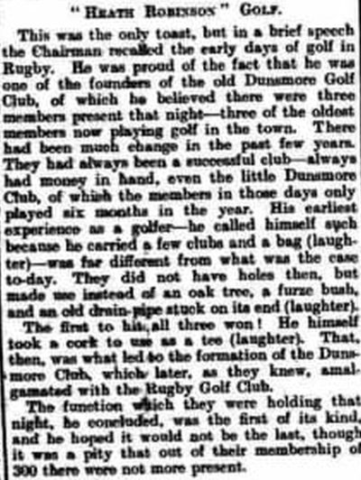 Dunsmore Golf Club, Rugby. Recollections of the former Dunsmore Golf Club in January 1926.