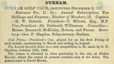 Durham Golf Club. Entry from the Golfing Annual 1888/89.