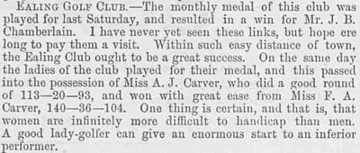 Ealing Golf Club, Twyford Abbey. Competition results from June 1892.