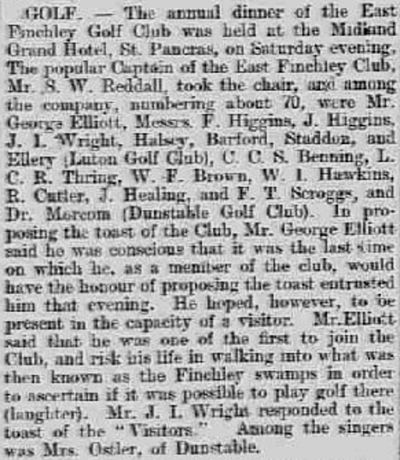 East Finchley Golf Club, London. Report on the annual dinner in February 1902.