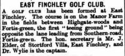 East Finchley Golf Club, London. A new golf club for East Finchley 1894.