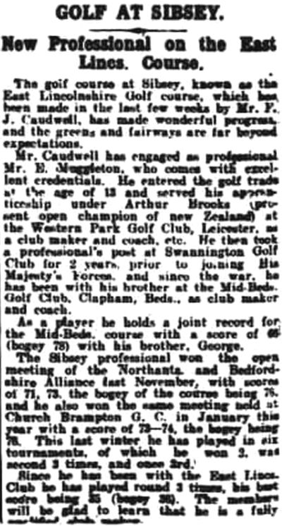 East Lincolnshire Golf Club, Sibsey. Report of the new professional in August 1924.