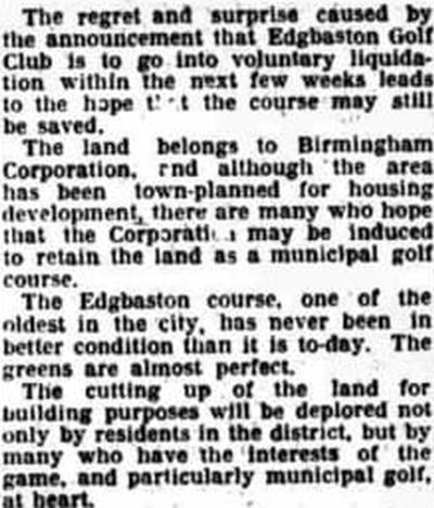 Edgbaston Golf Club, Ridgeacre Road, Harborne. Hope that the course may be saved November 1932.