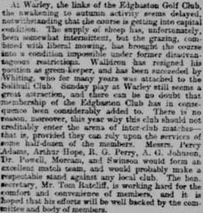 Edgbaston Golf Club, Lightwood Park, Warley. Report on the progress of the club in September 1900.