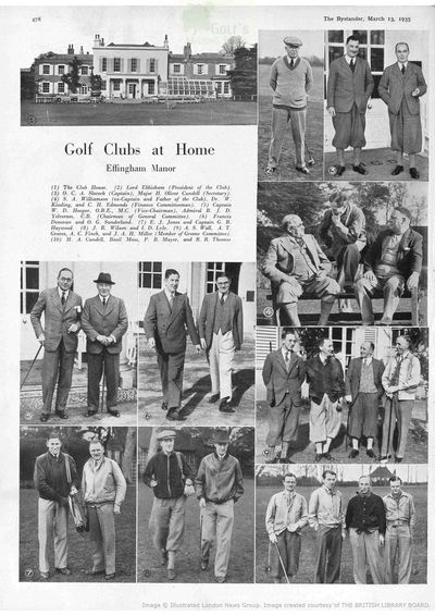 Effingham Manor Golf Club, Leatherhead, Surrey. Article from The Bystander March 1935.