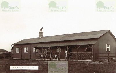 Embleton Golf Club, Northumberland. Clubhouse and golfers.