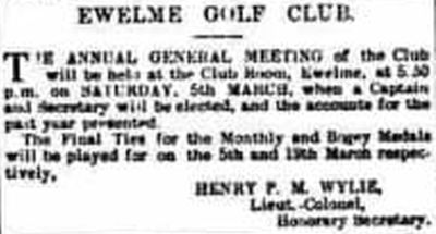 Ewelme Golf Club, Wallingford, Oxfordshire. Announcement of the annual meeting for March 1898.