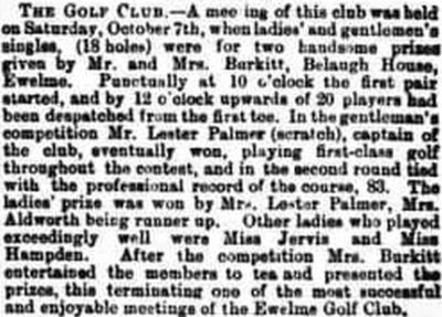 Ewelme Golf Club, Wallingford, Oxfordshire. Results of competitions played in October 1899.