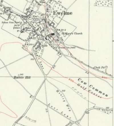 Ewelme Golf Club, Wallingford, Oxfordshire. The golf course marked on the 1944 O.S. Map.