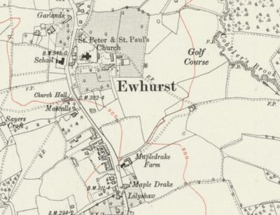 Ewhurst Golf Club, Surrey. The Golf Course marked on the O.S. Map 1920.