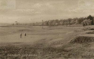 Exmouth Golf Club, Devon. Early postcard of golfers putting.