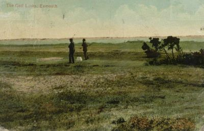 Exmouth Golf Club, Devon. Early postcard of golfers on the tee.