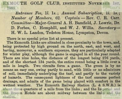 Exmouth Golf Club, Devon. Entry from the Golfing Annual 1888/89.
