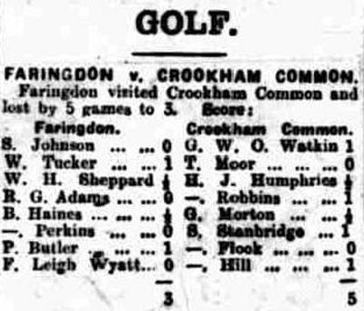 Faringdon Golf Club, Oxfordshire. Result of a match played at Crookham in July 1928.