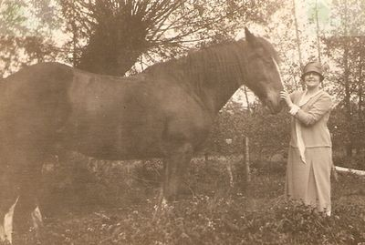 Farningham Golf Club, Kent. Alfred's wife Ivy with one of the horses.