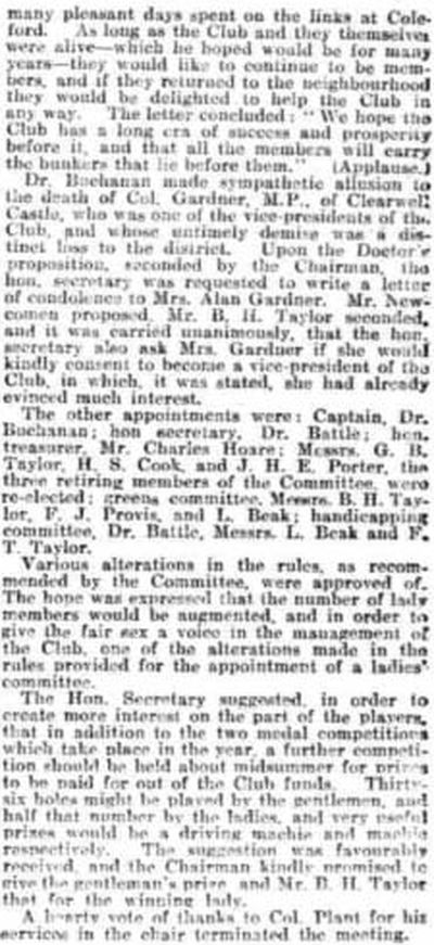 Forest of Dean Golf Club, Gloucestershire. The First Annual Meeting February 1908.