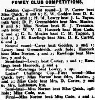 Fowey Golf Club, Cornwall. Competition results from June 1932.