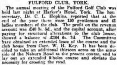 Fulford Golf Club, Water Fulford Hall, Yorkshire. Report on the annual meeting January 1912.