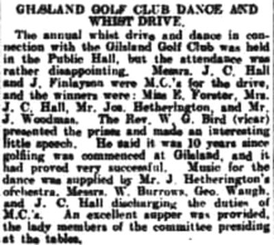 Gilsland Golf Club, Cumbria. Report on the Club dance and Whist Drive in February 1923.