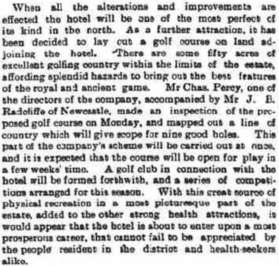 Gilsland Golf Club, Cumbria. Report on a proposed club and course in May 1894.