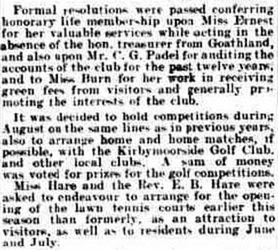 Goathland Golf Club, North Yorks. Report on the annual meeting and new course in May 1913.