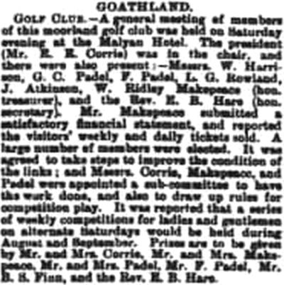 Goathland Golf Club, North Yorkshire. Report on the annual meeting in August 1901.