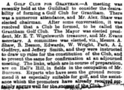 Grantham Golf Club, Hall's Hill, Grantham. The golf club for Grantham in August 1894.