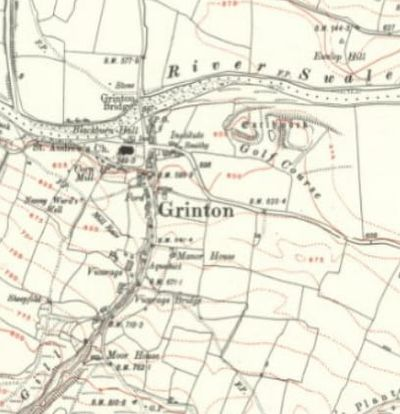 Grinton Golf Club, Richmond, Yprkshire. The golf course on the 1914 O.S. map.
