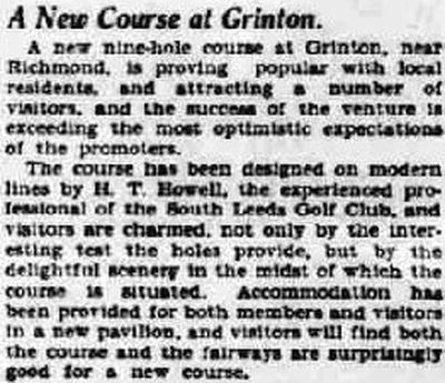 Grinton Golf Club, Richmond, Yorkshire. Report on a new golf course for Grinton in June 1933.