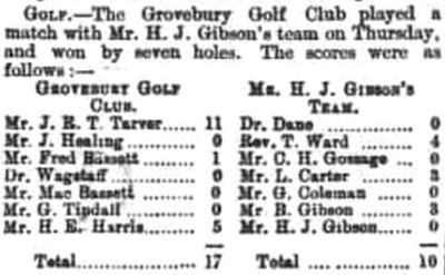 Grovebury Golf Club, Leighton Buzzard. Result of a match played at Grovebury in January 1897.