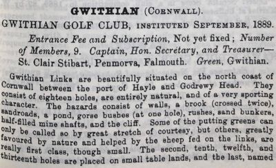 Gwithian Golf Club, Hayle, Cornwall. Entry from the 1889/90 Golfing Annual.