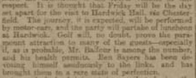 Hardwick Golf Club, Derbyshire. Newspaper report from January 1904.