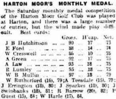 Harton Moor Golf Club, County Durham. Result of the June 1924 monthly medal.