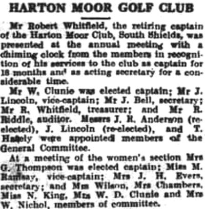 Harton Moor Golf Club, County Durham. Newspaper report from February 1932.