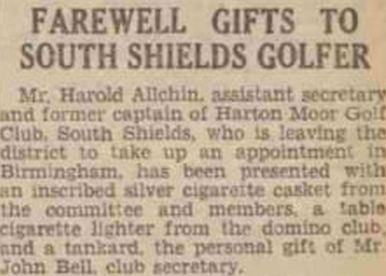 Harton Moor Golf Club, County Durham. A farewell gift presented in June 1939.