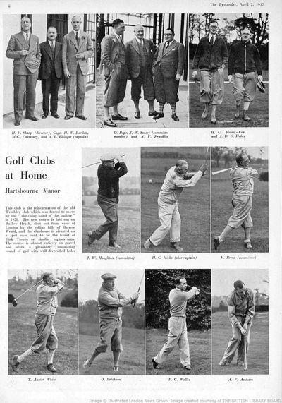 Hartsbourne Manor Golf Club, Bushey Heath, Herts. Article from the Bystander in 1937.