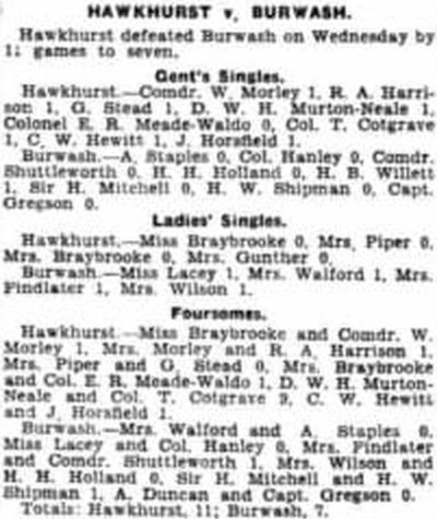 Hawkhurst Golf Club, Kent. Competition results and meeting from April 1934.