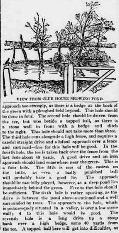 Headingley Golf Club, Leeds. Newspaper report from October 1892.