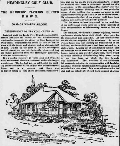 Headingley Golf Club, Leeds. Newspaper report of the clubhouse fire in 1896