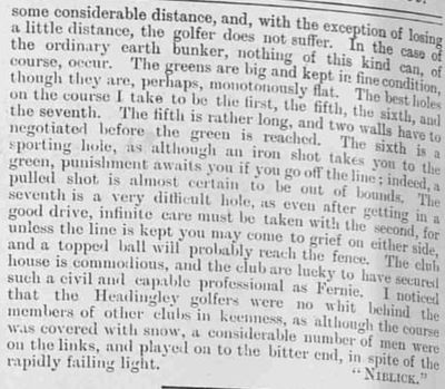 Headingley Golf Club, Leeds. Illustrated Sporting Dramatic News December 1899.