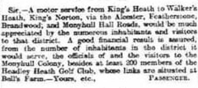 Headley Heath Golf Club, Worcestershire. Letter from the Birmingham Mail January 1914.